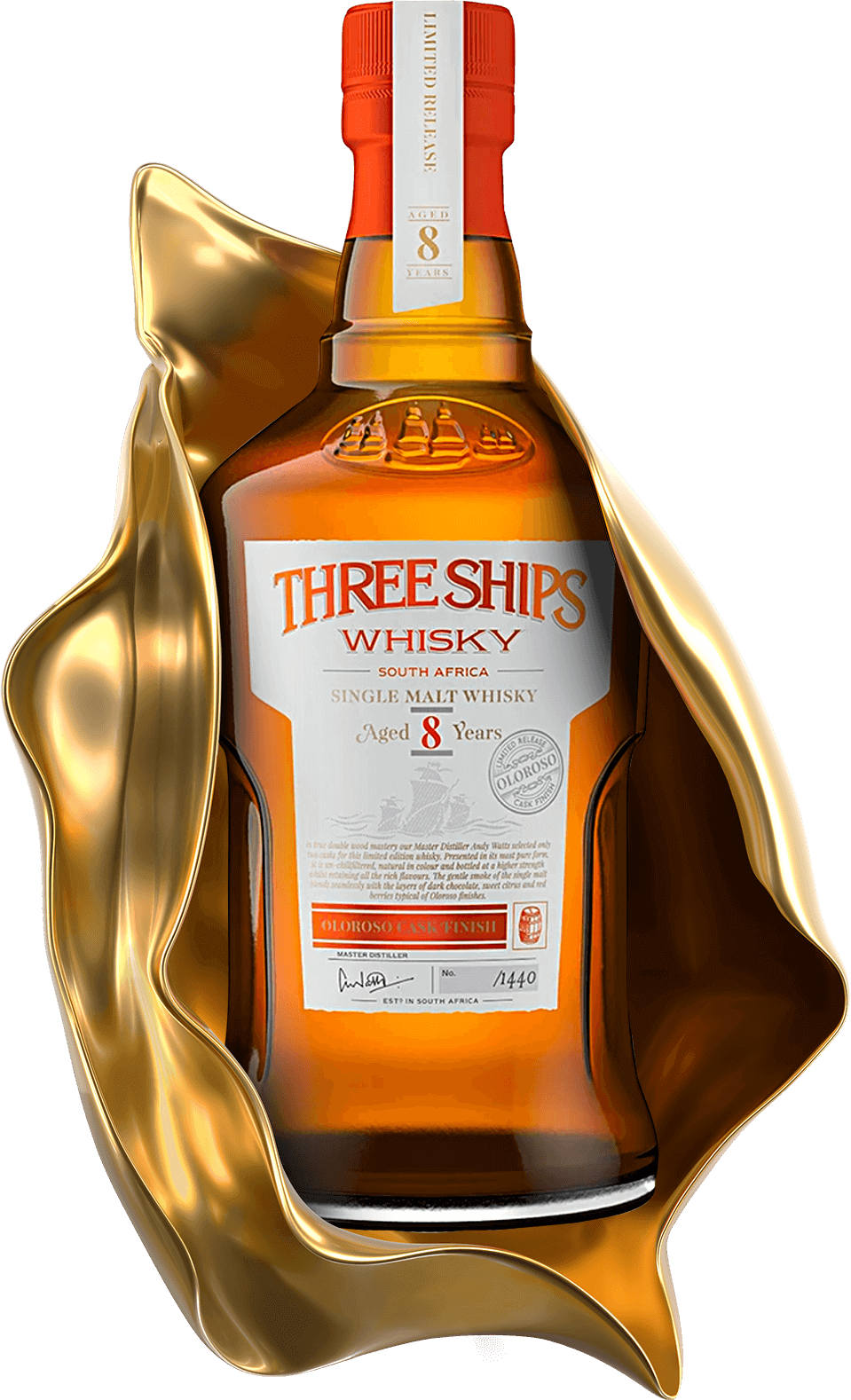 THREE SHIPS WHISKY 8 YEAR OLD SINGLE MALT OLOROSO CASK FINISH